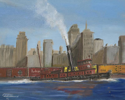 Art Print featuring the painting Pennsylvania Railroad Tug by Christopher Jenkins