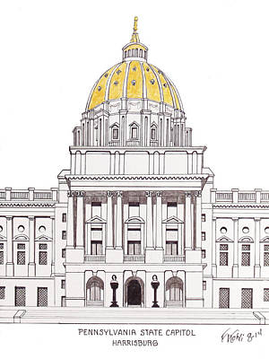 Drawing - Pennsylvania State Capitol by Frederic Kohli