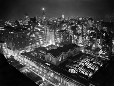 Illuminated Photograph - Pennsylvania Station At Night by Underwood Archives