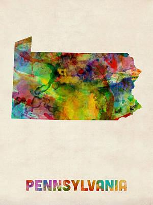 Digital Art - Pennsylvania Watercolor Map by Michael Tompsett