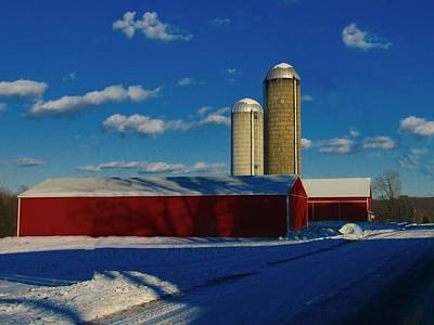Snowy Roads Photograph - Pennsylvania Winter Red Barn  by David Dehner
