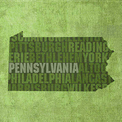 Pennsylvania Mixed Media - Pennsylvania Word Art State Map On Canvas by Design Turnpike