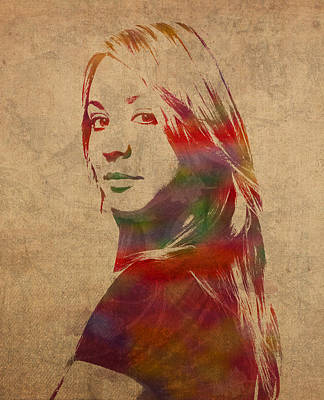 Penny Big Bang Theory Kaley Cuoco Watercolor Portrait On Worn Distressed Canvas Art Print by Design Turnpike