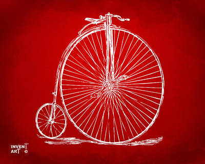 Drawing - Penny-farthing 1867 High Wheeler Bicycle Patent Red by Nikki Marie Smith