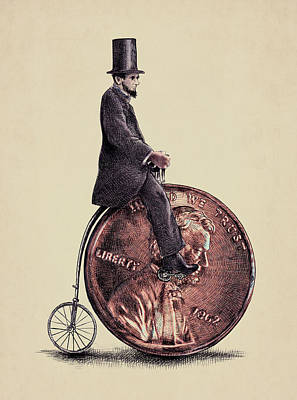 July Fourth Drawing - Penny Farthing by Eric Fan