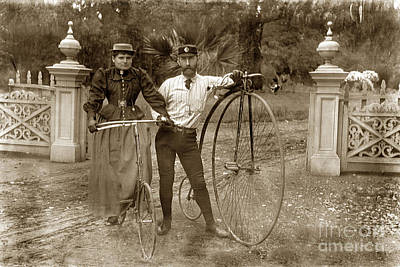 Photograph - Penny-farthing High Wheel At Hotel Del Monte Monterey California Circa 1890 by California Views Archives Mr Pat Hathaway Archives