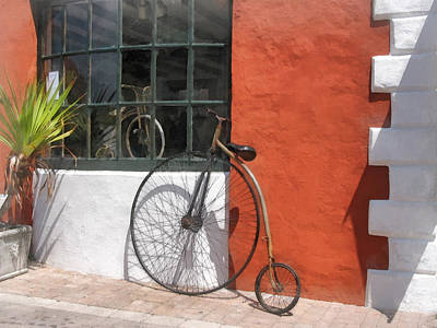 Photograph - Penny-farthing In Front Of Bike Shop by Susan Savad