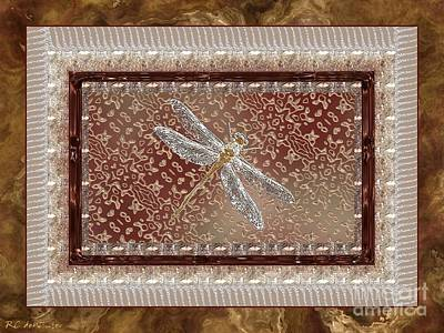 Glass Dragonfly Painting - Penny Postcard Sophisticated by RC DeWinter