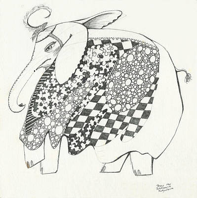 Animals Drawings - Penny the Patchwork Pachyderm by Melinda Dare Benfield