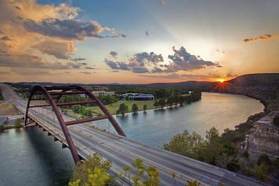 Pennybacker Bridge At Sunset Art Print by Rob Greebon