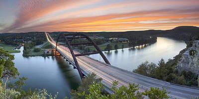 Pennybacker Bridge Panorama Austin Texas 3 Art Print by Rob Greebon