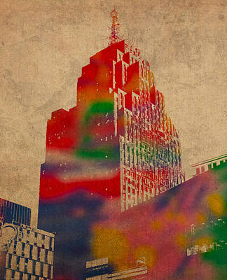 Number 5 Mixed Media - Penobscot Building Iconic Buildings Of Detroit Watercolor On Worn Canvas Series Number 5 by Design Turnpike