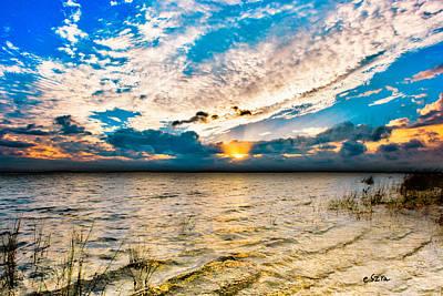 Art Print featuring the photograph Pensacola Bay Florida-golden Sun Rays Glorious Sunset Light by Eszra Tanner