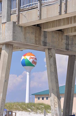Pensacola Beach Ball And Pier Art Print