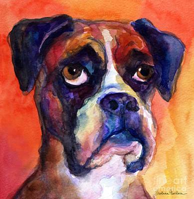 Watercolor Pet Portraits Painting - pensive Boxer Dog pop art painting by Svetlana Novikova