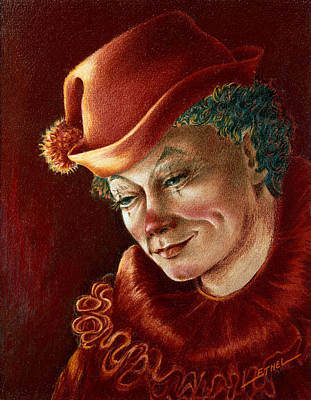 Art Print featuring the pastel Pensive Clown by Ethel Quelland