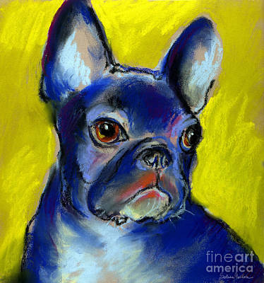 French Bulldog Painting - Pensive French Bulldog Portrait by Svetlana Novikova