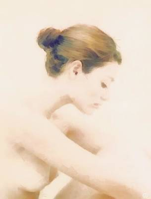 Girl Profile Digital Art - Pensive by Gun Legler