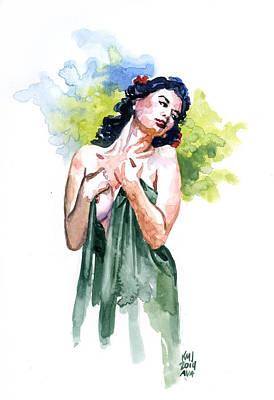 Women Painting - Pensive In Green by Ken Meyer