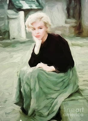 Munroe Digital Art - Pensive Marilyn by Lynne Alexander