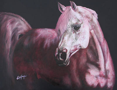 White Horse Painting - Horse Paintings Pensive by Robert Lafaye
