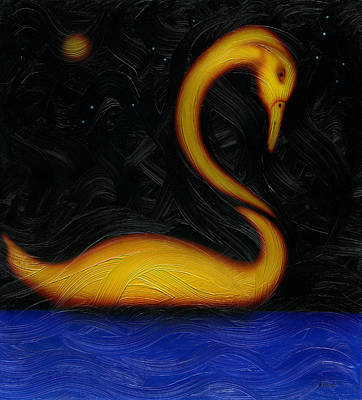 Painting - Pensive Swan. by Kenneth Clarke