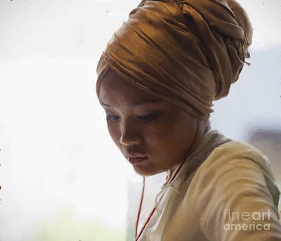 Pensive Young Woman In Turban Art Print