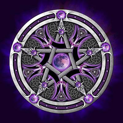 Digital Art - Pentacle Of The Purple Moon by Ricky Barnes