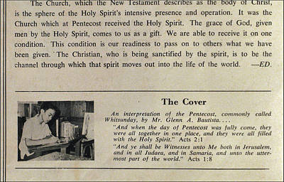 Photograph - Pentecost By Glenn 1965 by Glenn Bautista