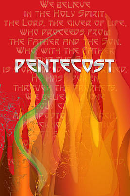 Digital Art - Pentecost Fires by Chuck Mountain