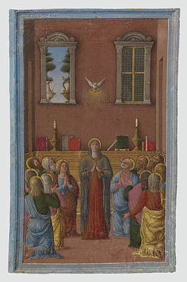 Pentecost Painting - Pentecost Girolamo Da Cremona, Italian, Active About 1450 - by Litz Collection