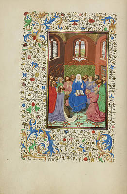 Pentecost Master Of Wauquelins Alexander Or Workshop Art Print by Litz Collection
