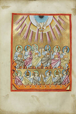 Pentecost Drawing - Pentecost Unknown Regensburg, Bavaria, Germany by Litz Collection