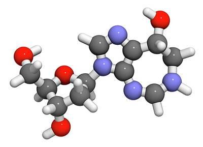 Atomic Image Photograph - Pentostatin Cancer Drug Molecule by Molekuul