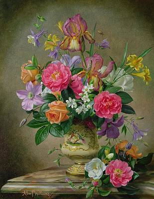 Peonies And Irises In A Ceramic Vase Art Print by Albert Williams