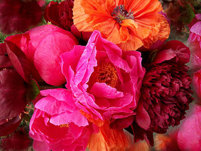 Peonies And Poppies Vibrant Bouquet Art Print