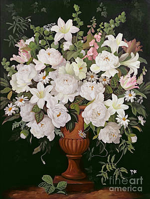White Flowers Painting - Peonies And Wisteria by Lizzie Riches