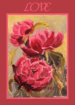 Painting - Peonies Card by Ruth Soller