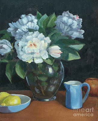 Pitcher With Flowers Painting - Peonies In Glass Vase by Marge Casey