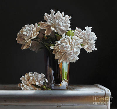 White Flowers Painting - Peonies In Silver by Larry Preston