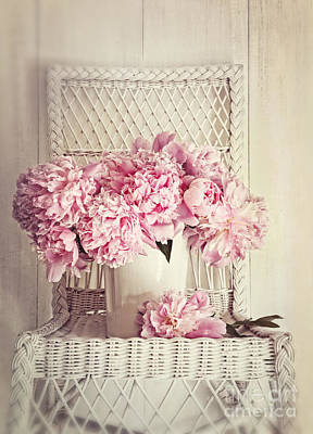 Photograph - Peonies In Vase On Old Wicker Chair by Sandra Cunningham