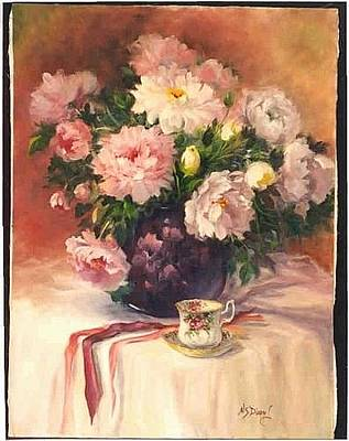 Painting - Peonies N Tea by Naomi Dixon