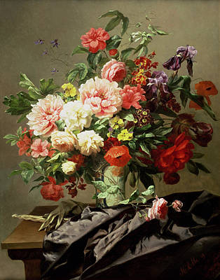 Fan Art Painting - Peonies, Poppies And Roses, 1849 by Henri Robbe