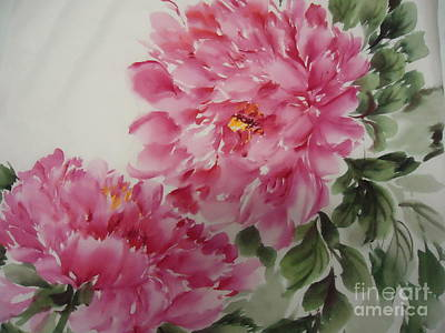 Art Print featuring the painting Peony-3-25 by Dongling Sun