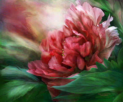 Mixed Media - Peony - 50 Shades Of Red by Carol Cavalaris