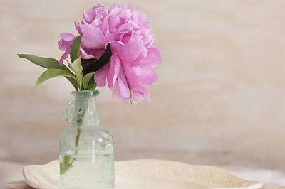 Photograph - Peony And Blue Bottle by Rich Franco
