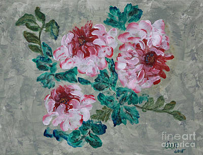 Painting - Peony Blossoms Floral Garden Art Walk by Ella Kaye Dickey