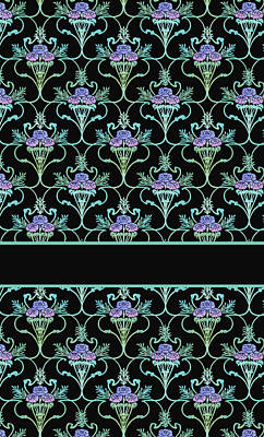 Art Deco Mixed Media - Peony Damask On Black by Jenny Armitage