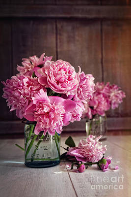 Photograph - Peony Flowers In Glass Jar With Vintage Feel by Sandra Cunningham