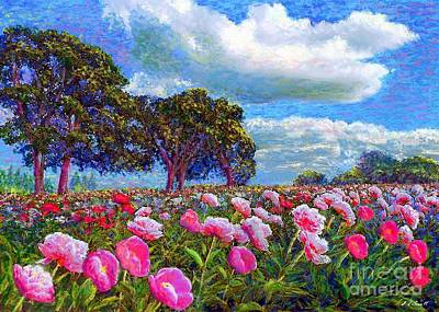 Peaceful Landscape Painting - Peony Heaven by Jane Small